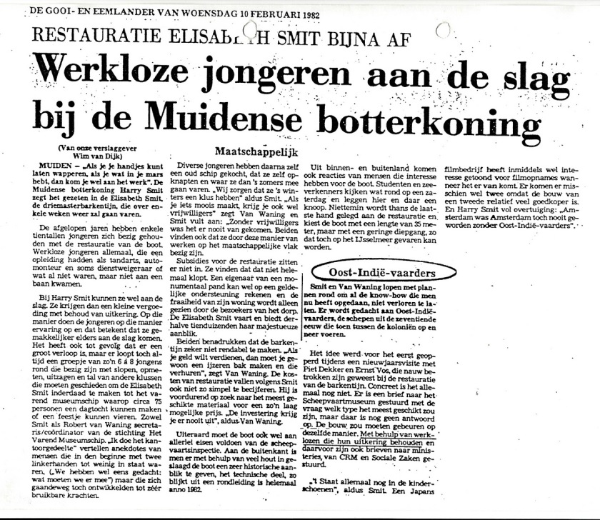 19820210 art G&E Werkloze jongeren aan de slag bij Muidense botterkoning